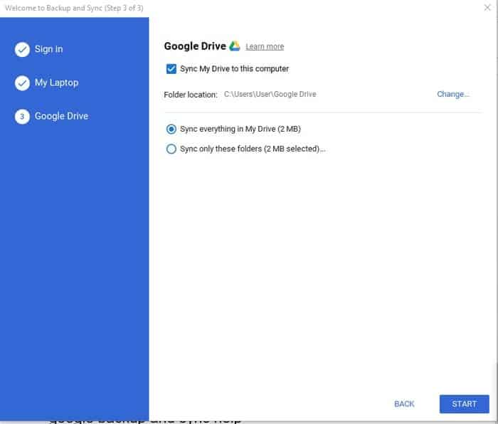 sync and update option of google drive