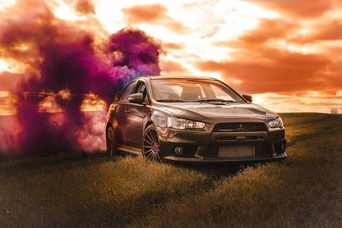 automotive photography with smoke