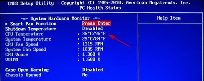 You can see the CPU heat condition through your BIOS.