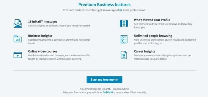 LinkedIn premium cost vs LinkedIn premium benefits business