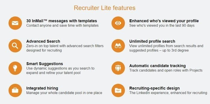 LinkedIn Premium Features recruiter light