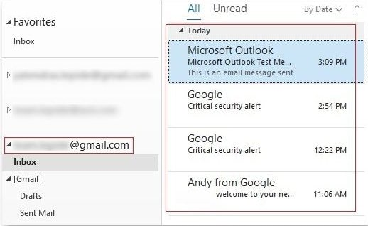 Gmail Outlook Sync is successful.