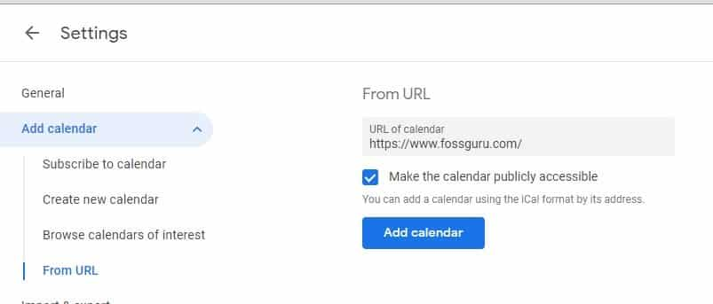 URL for sync gmail calendar with outlook