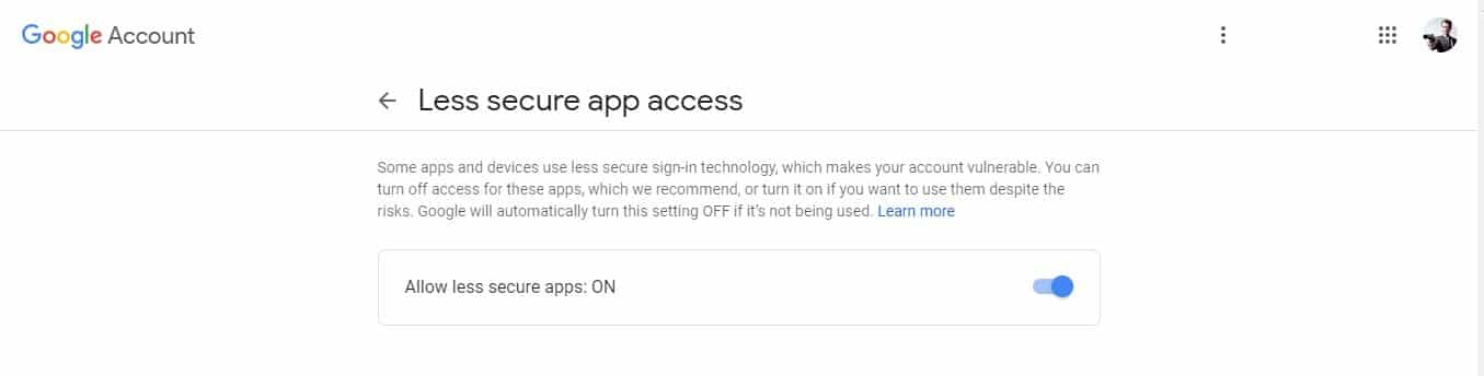 Now you have to allow your less secure apps