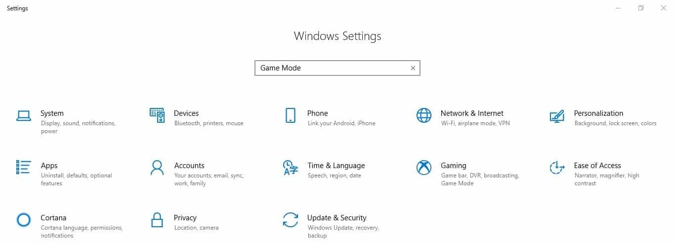 Windows 10 Game Mode setting