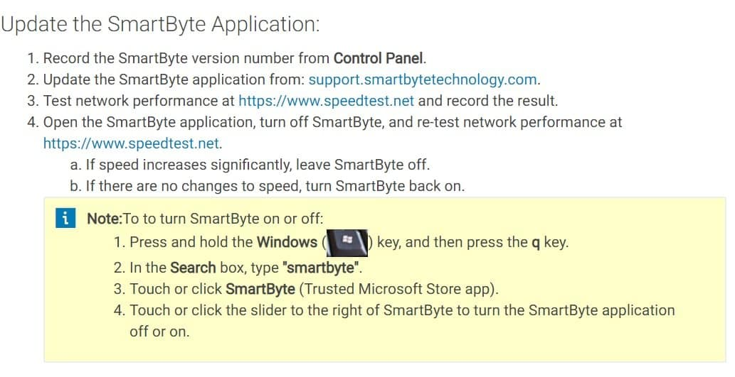 You can also update the smartByte Application by this ways