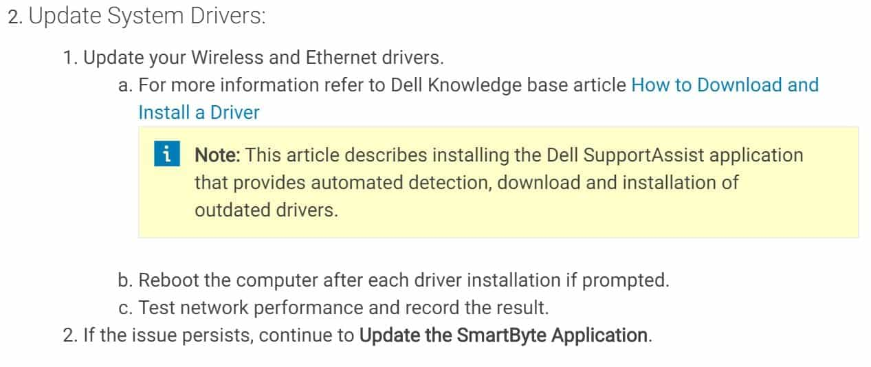 You can update SmartByte Driver by following ways