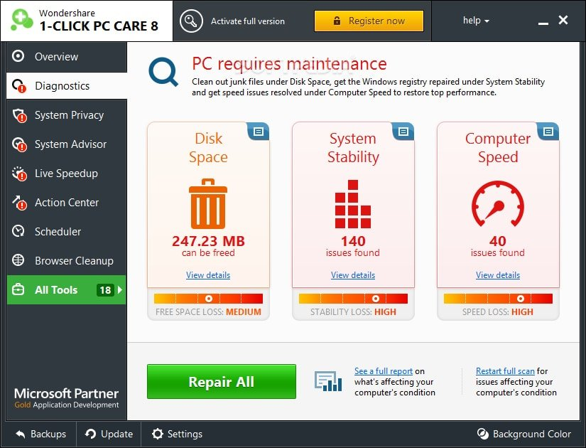 Wondershare's 1-Click PC Care