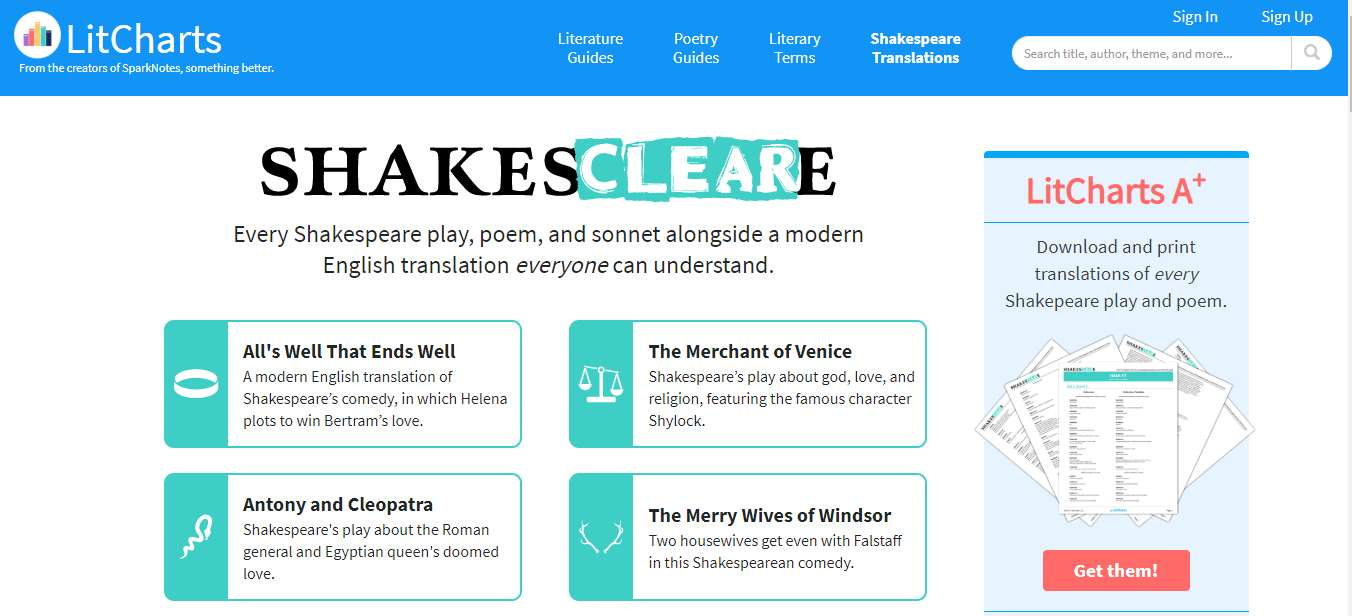 LitCharts Shakespeare Translator