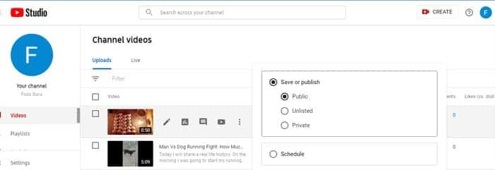 Make an Existing YouTube video private