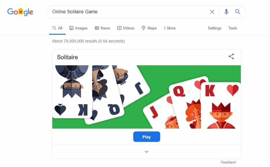 Solitaire Online Game is a Google hidden game