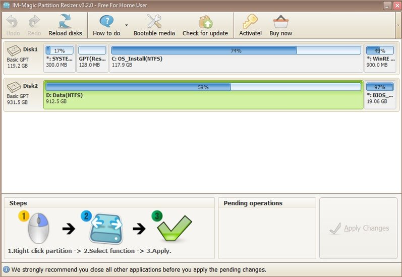 IM-Magic Partition Resizer disk manager