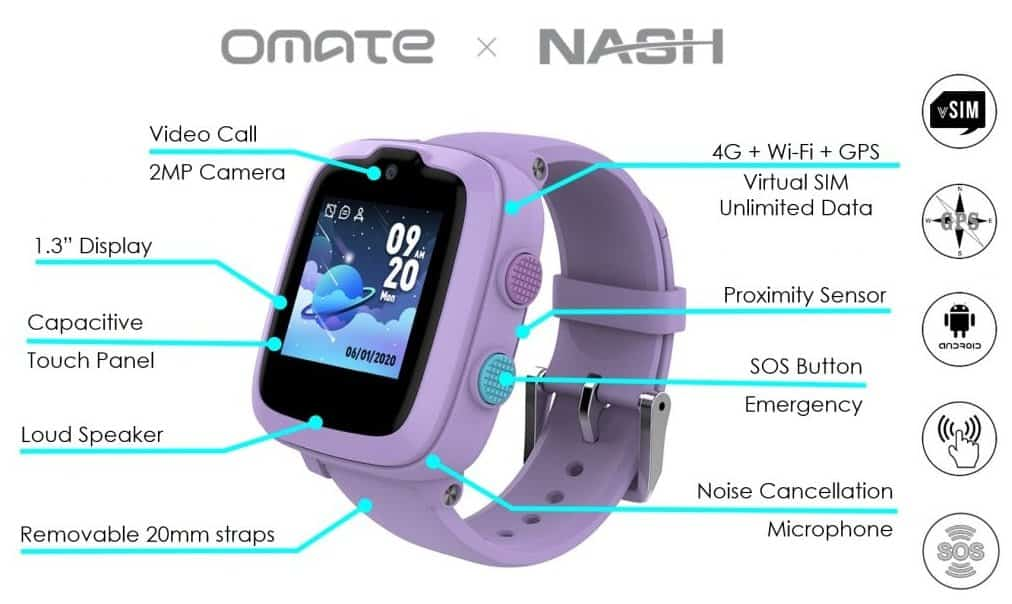OMATE x NASH 4G Kids Smart Watch