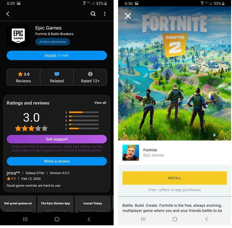 download Fortnite from Samsung Store (For Samsung phones only)