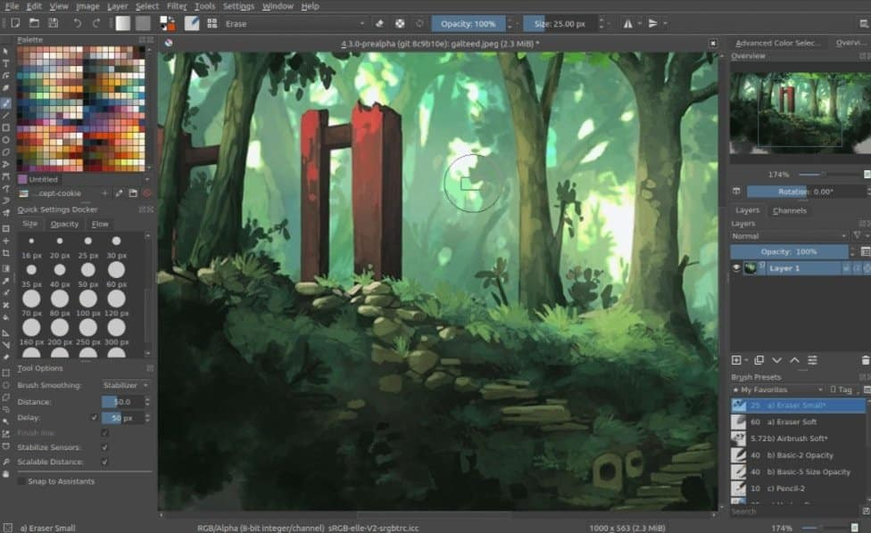 Krita has an identical interface with Photoshop that makes it another open-source Photoshop alternative.