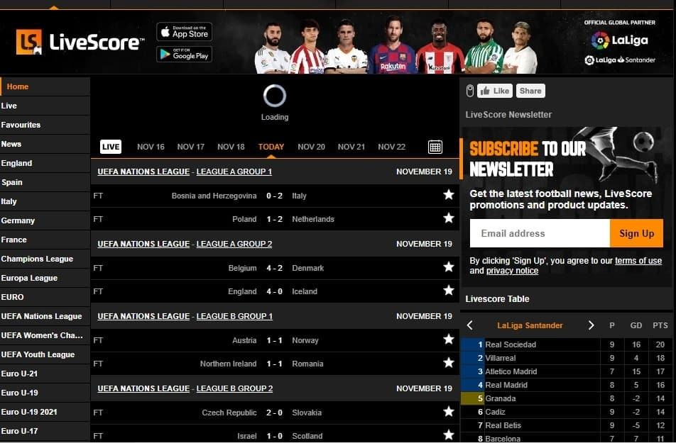 LiveScore-best sports streaming sites