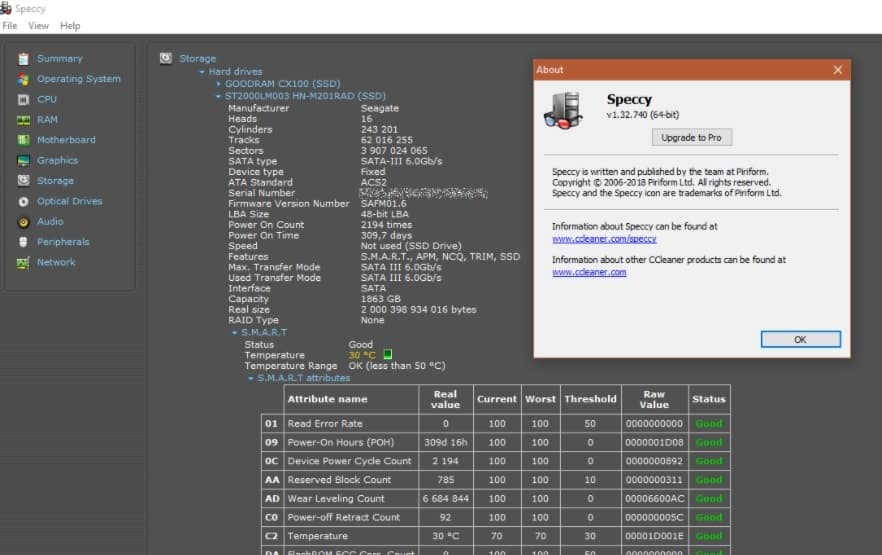 Speccy-ssd benchmark tool