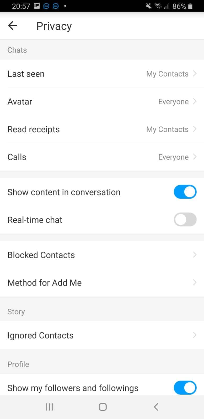 IMO Privacy Setting