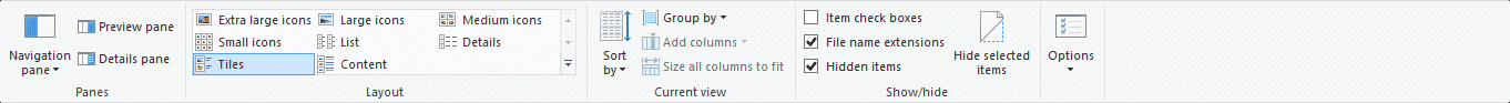 In the show/Hide column check the File name extensions and Hidden items to find CFG File Extension.