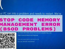 Stop Code Memory Management Error (BSOD Problems) In Windows 10 (Fixed)