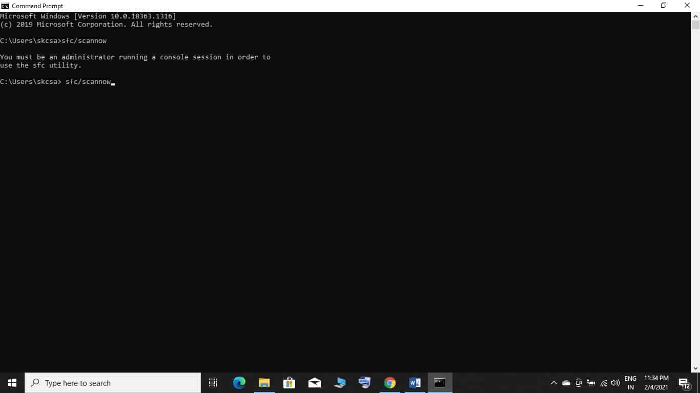 Check the System Files Command Prompt