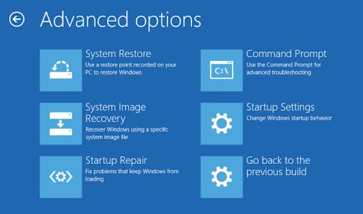Windows Kernel Security Check Failure: Choose 'Advanced Options' and you will get a screen like this –