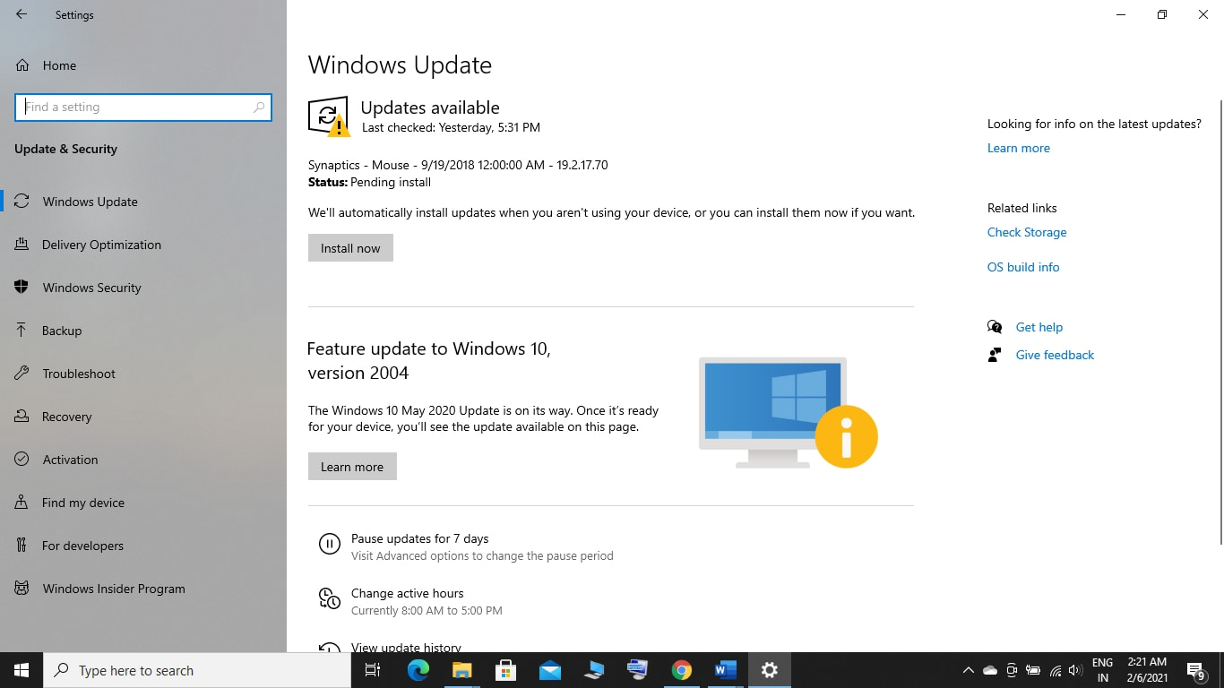 Update your Windows if there any updates available