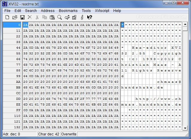 XVI32 the Best hex editor for windows
