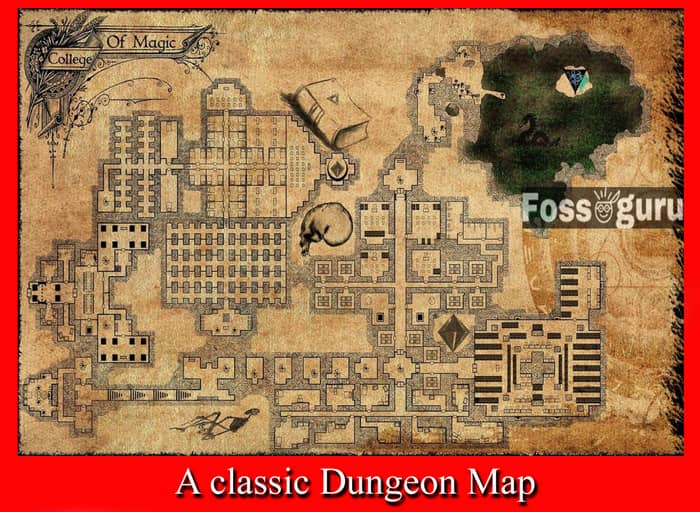 A classic dungeon map